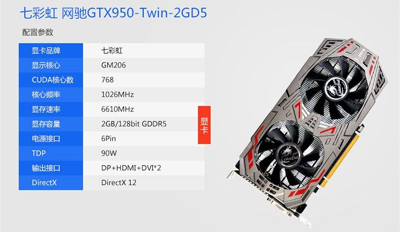 显卡:七彩虹GTX950-2GD5