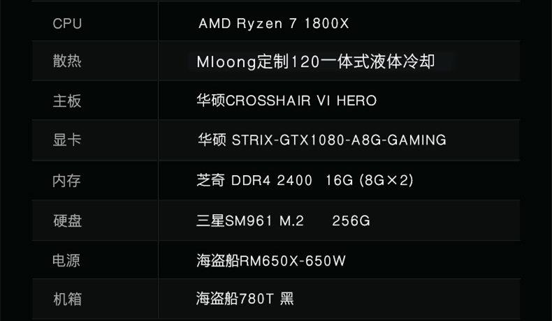 AMD高端组装整机配置单:Ryzen 7 1800X满血狂超5.8GHz